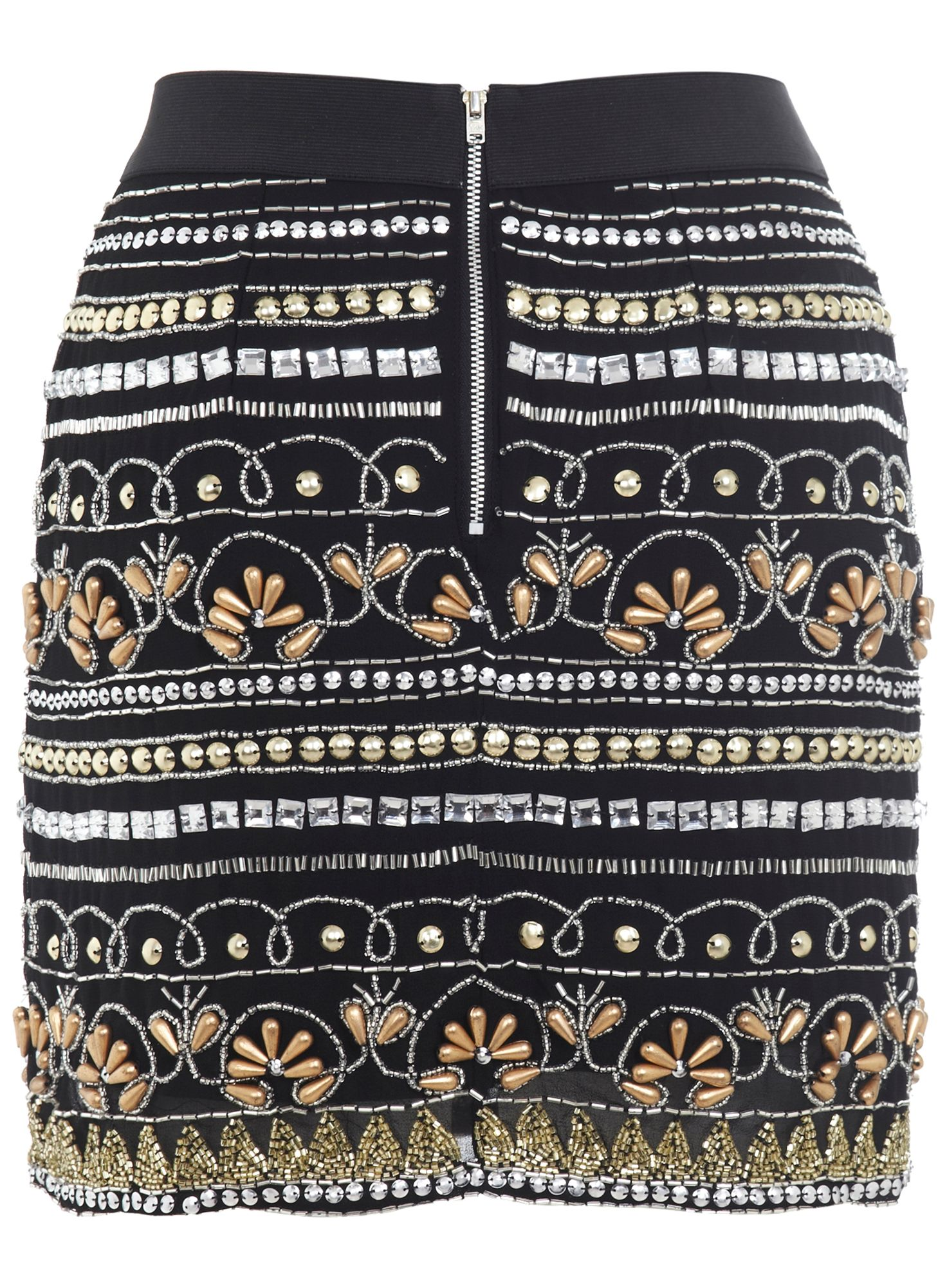 Embellished Black Mini Skirt