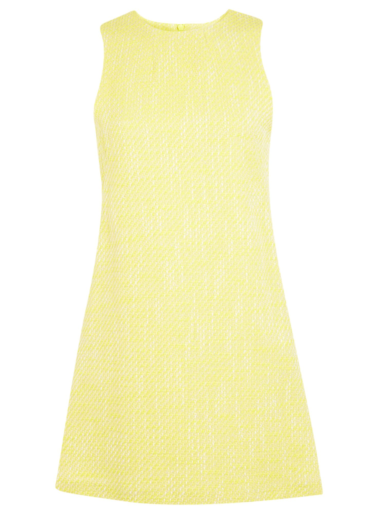 Yellow boucle shift dress