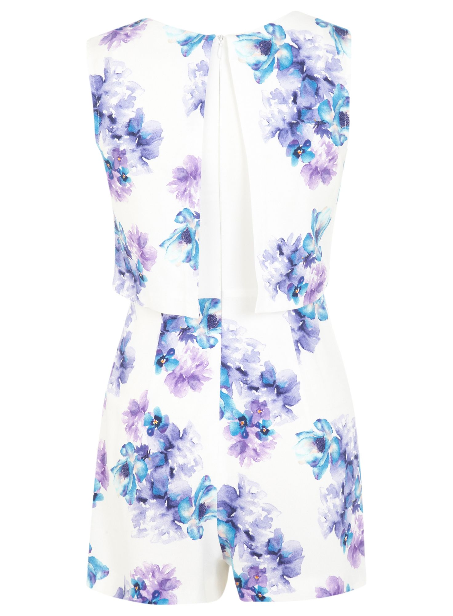 Petites floral overlay playsuit