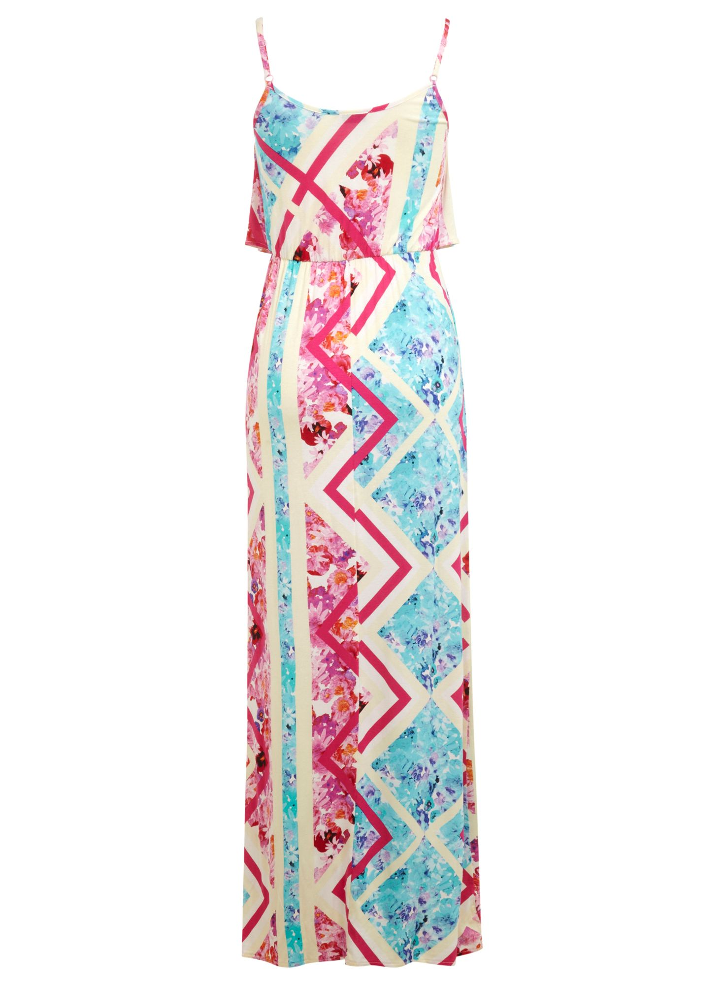 Floral spliced print maxi