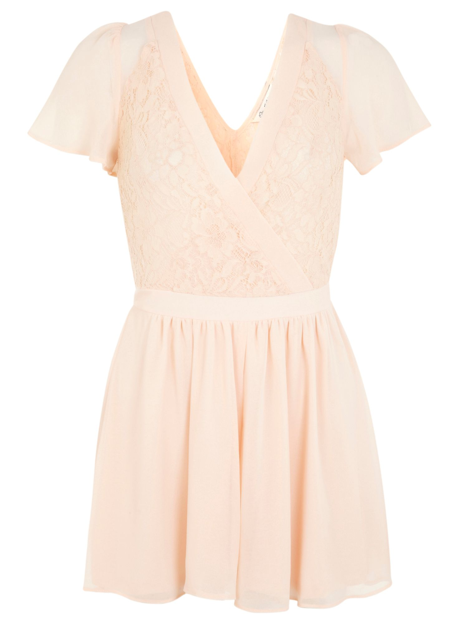 Nude lace and chiffon playsuit