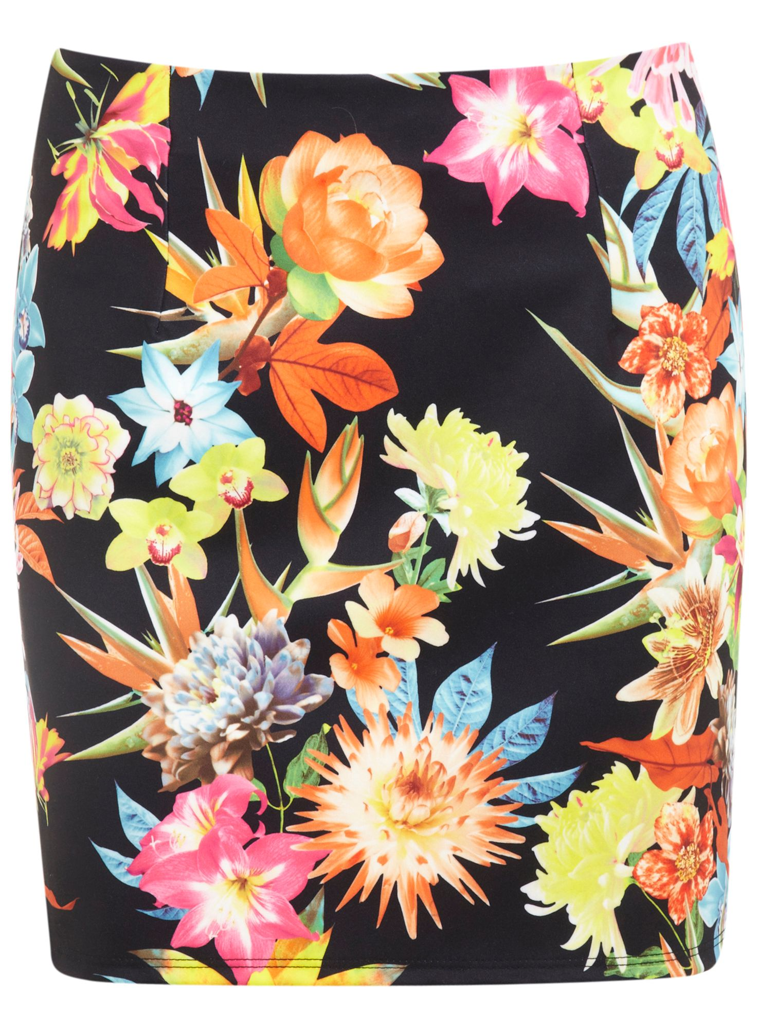 Tropical print mini skirt