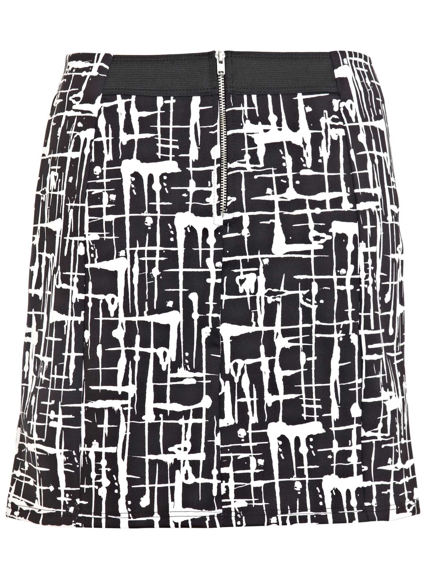 Black Scratch Print Mini Skirt