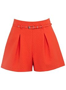 Red Textured Belted Short