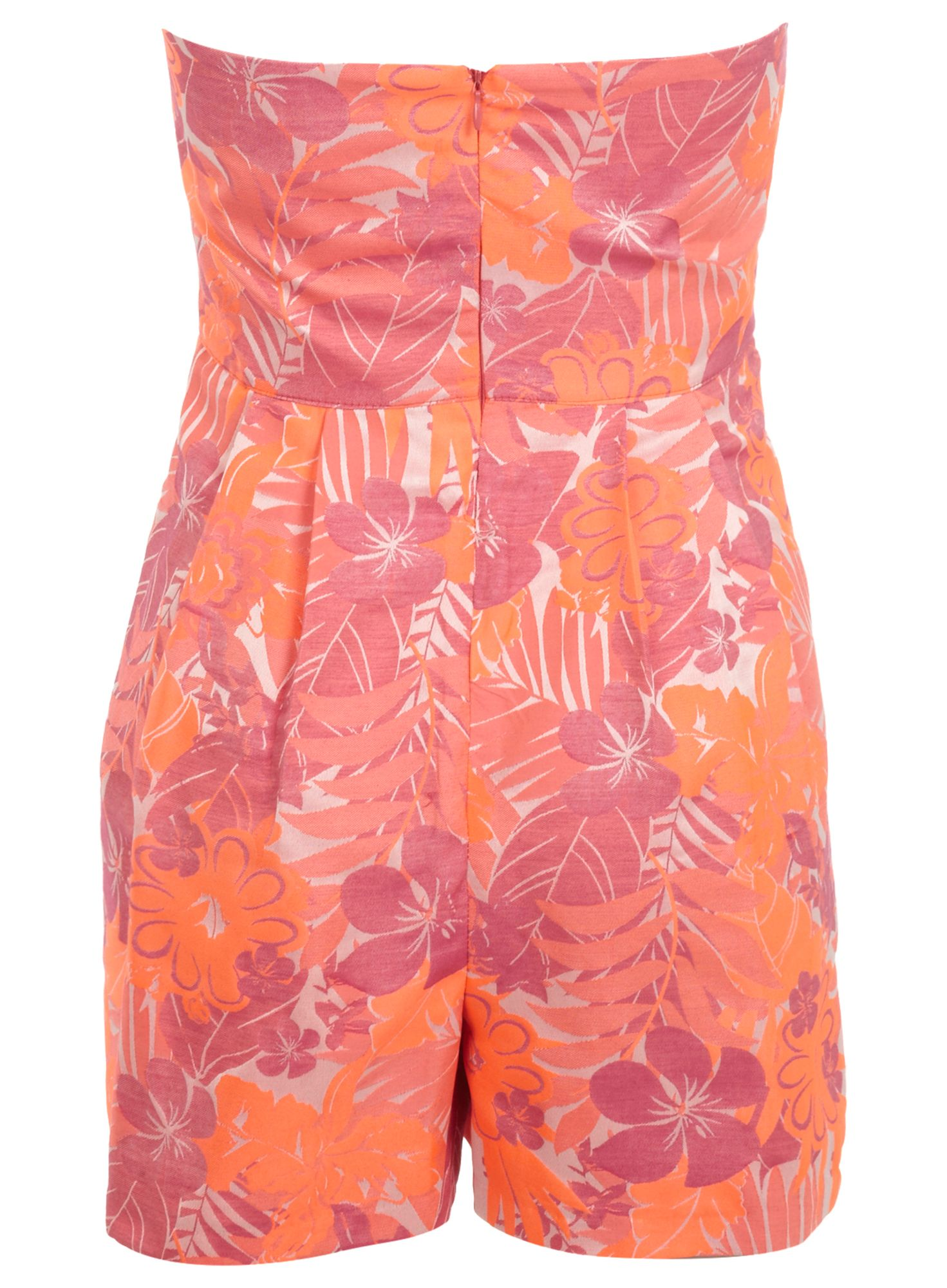 Neon strapless playsuit