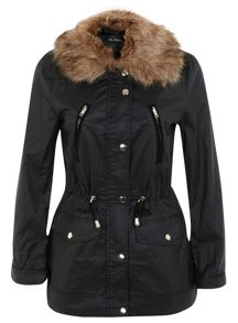 Faux Fur Collar Wax Jacket