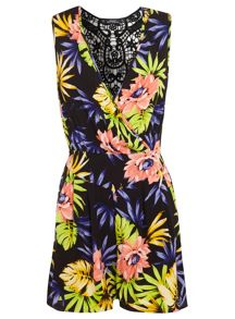 Petites tropical print playsuit
