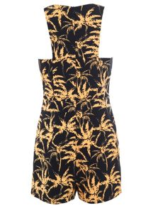 Palm print trimmed playsuit