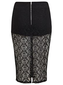Geo lace pencil skirt