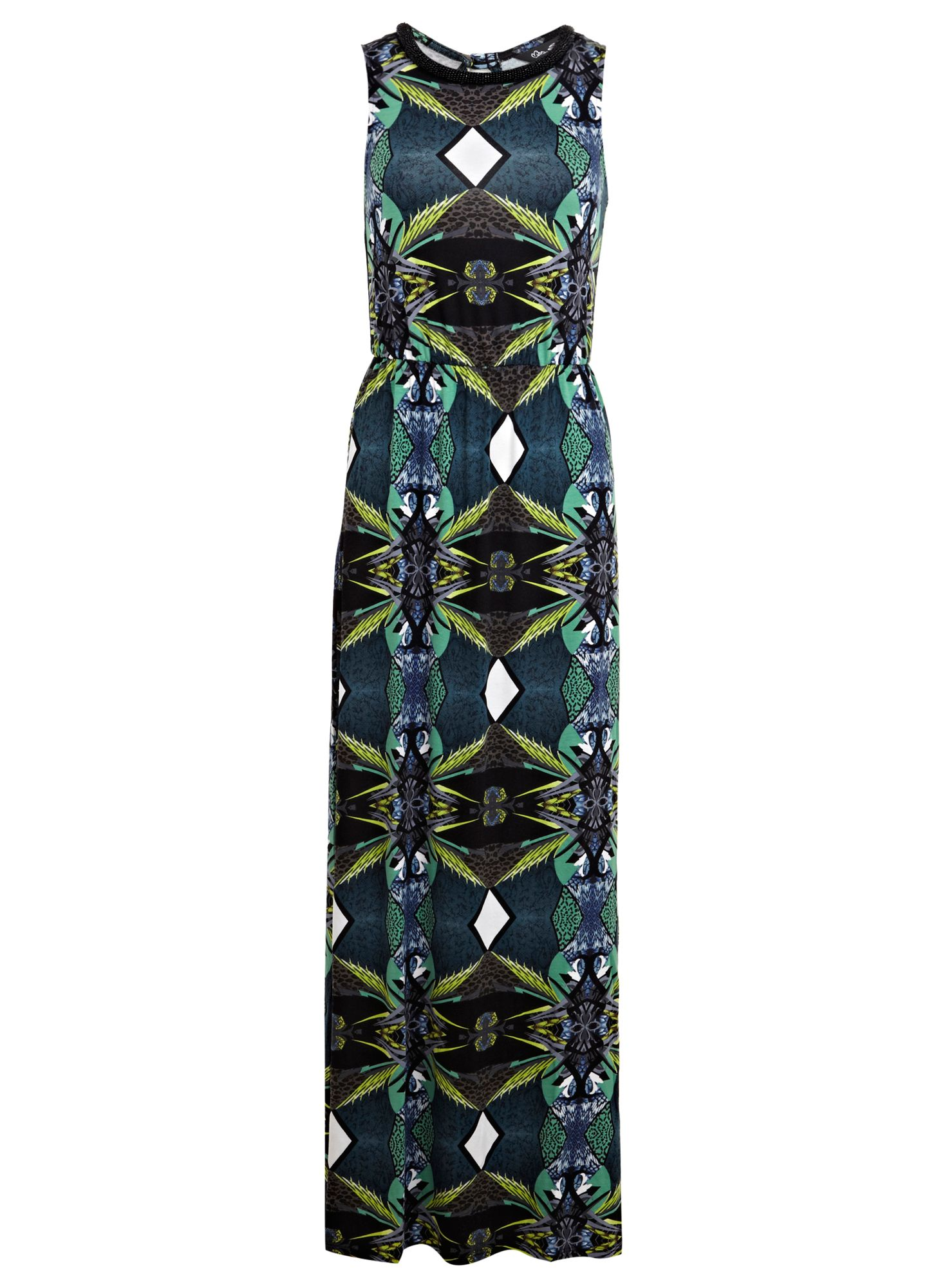 Tropical bead neck trim maxi dress