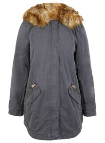 Lion Hood Faux Fur Parka