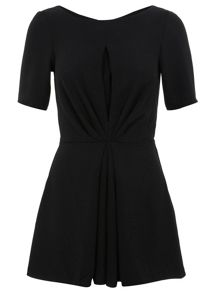 Pleated front crepe playsuit