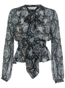 Paisley Print Pussybow Blouse