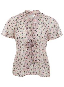 Geo Print Pussy Bow Blouse