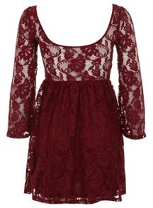 Petites Burgundy Lace Dress