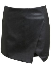 Faux Leather And Ponte Skort