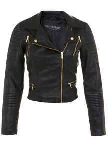 Crop Faux Leather Biker