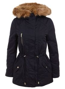 Navy Blonde Faux Fur Parka