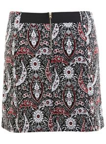 Monochrome Paisley Mini Skirt
