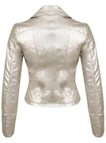Champagne Faux Leather Jacket
