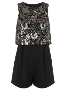 Petites Sequin Overlay Playsuit