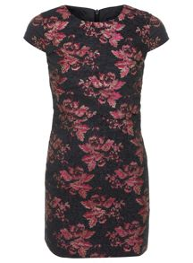 Petites Jacquard Overlay Dress