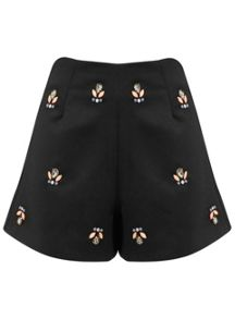 Embellished Black Jewel Shorts