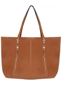Tan Zip Slouch Shopper Bag