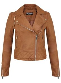 Tan Molly Faux Leather Biker
