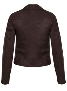 Brown Molly Faux Leather Biker
