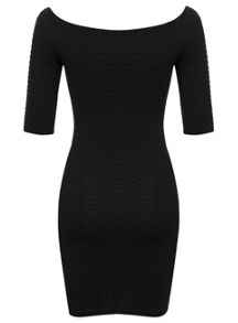 Petites 3/4 Sleeve Bardot Dress