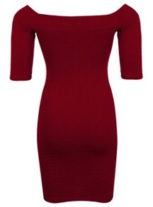 Petites Burgundy Bardot Dress