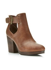 Amour Tan Cut Out Ankle Boots