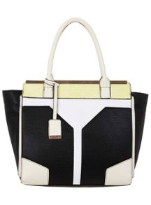 Lime Colour Block Bar Tote