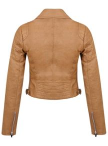 Camel Cropped Biker Jacket