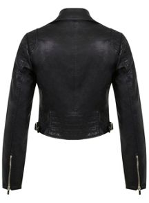 Black Cropped Biker Jacket