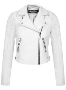 White Cropped Biker Jacket