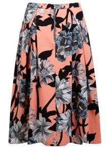 Graphic Floral Midi Skirt