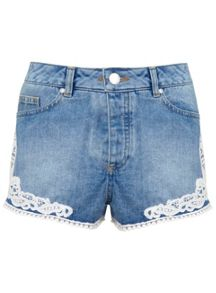 Crochet Hem Denim Short
