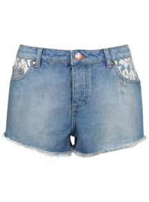 Petites Denim Crochet Shorts