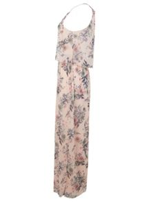 Nude Floral Overlay Maxi Dress