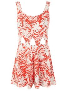 Petites Red Print Playsuit