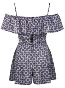 Blue Tile Bardot Playsuit