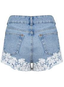 Floral Crochet Denim Shorts