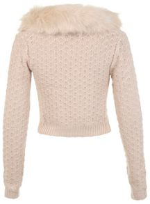 Blush faux fur collar cardigan