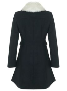Black Fur Trim Collar Coat