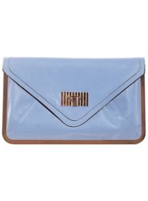 Blue Metal Frame Clutch Bag