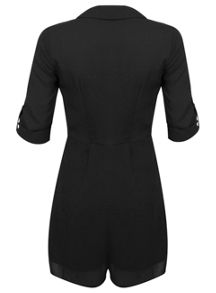 Black Utility D Ring Playsuit