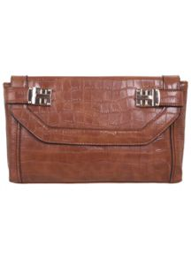 Tan Croc Lock Clutch Bag