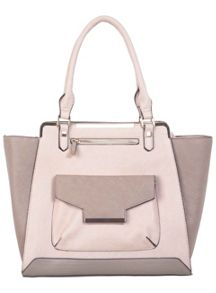 Nude Colour Block Tote Bag